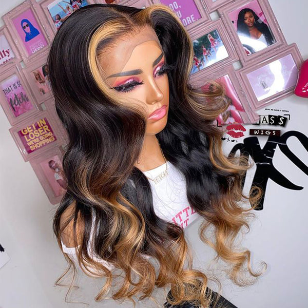 1b/27/30 Highlight 13x4 Lace Front Wig Body Wave Human Hair
