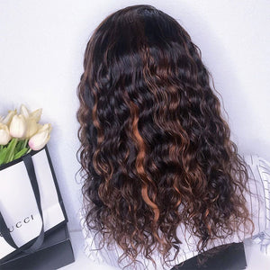 13x6 Lace Front Curly Human Hair Wig 1b/30 Transparent Lace Wig