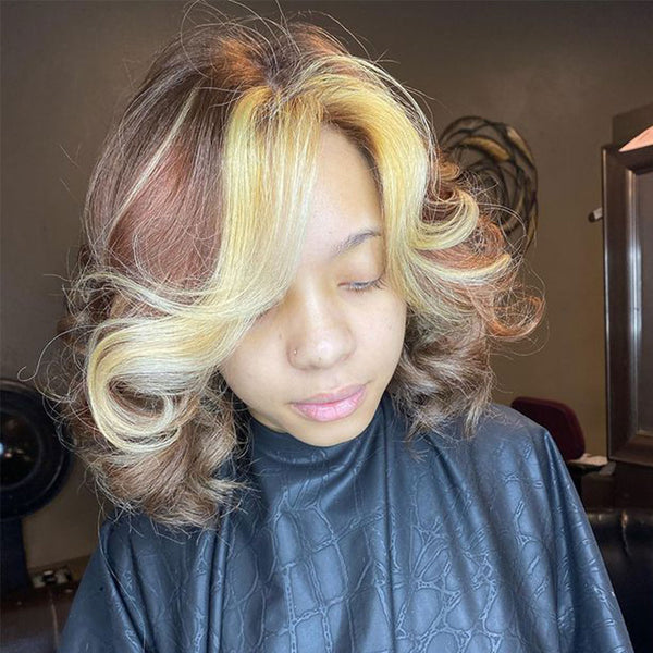 4/613 Color Loose Wave Bob Hair T Part Lace Front Wig