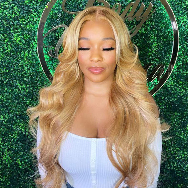 Blonde Human Hair 613 Body Wave Lace Front Wig T Part  Lace Wig