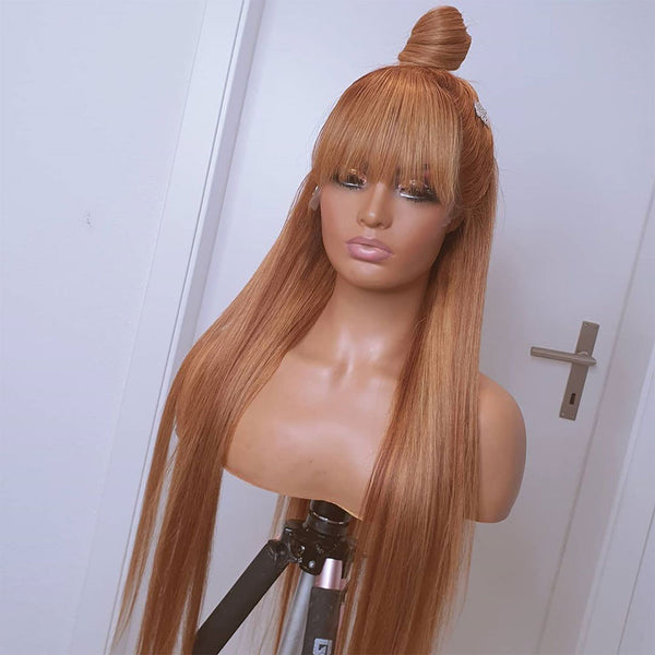 Honey Blonde Lace Front Wig With Bang Color 27 13x6 Transparent Lace Frontal Wig  150% Density