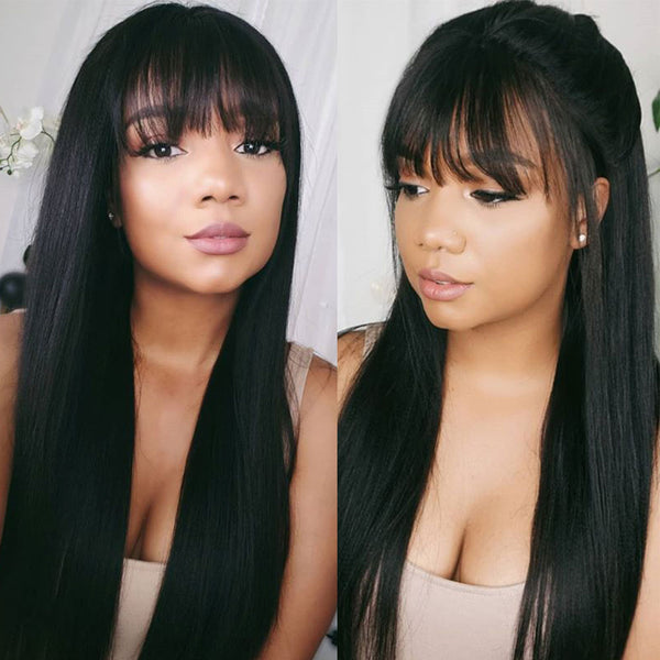 13x6 Transparent Lace Wig Human Hair With Bang 150% Density 13x6 Lace Frontal Wig