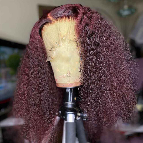 250% Density Kinky Curly Wig Burgundy 13x6 Lace Frontal Wig Transparent Lace Wig Human Hair