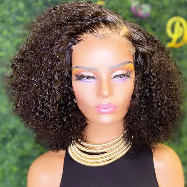 4x4 Lace Closure Wig Afro Kinky Curly Bob Wig 250% Density Afro Kinky Curly Human Hair