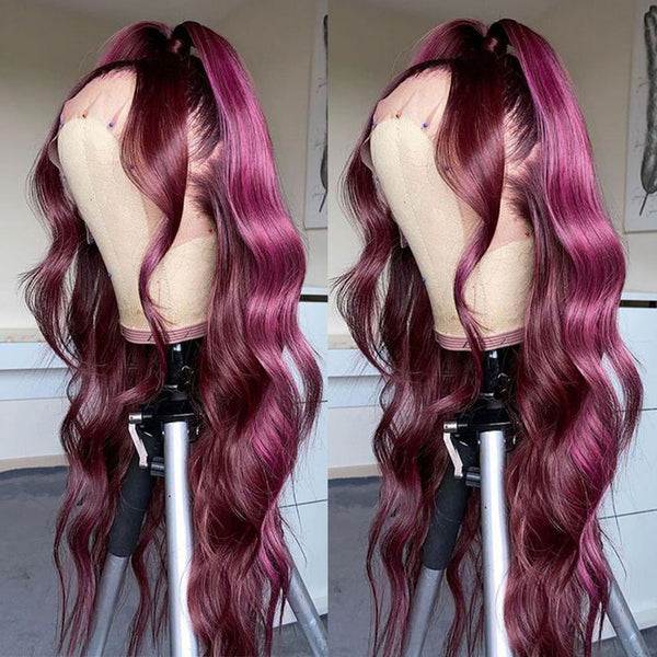 Purple Lace Front Wig 13x6 HD Transparent Lace Frontal Human Hair Wig