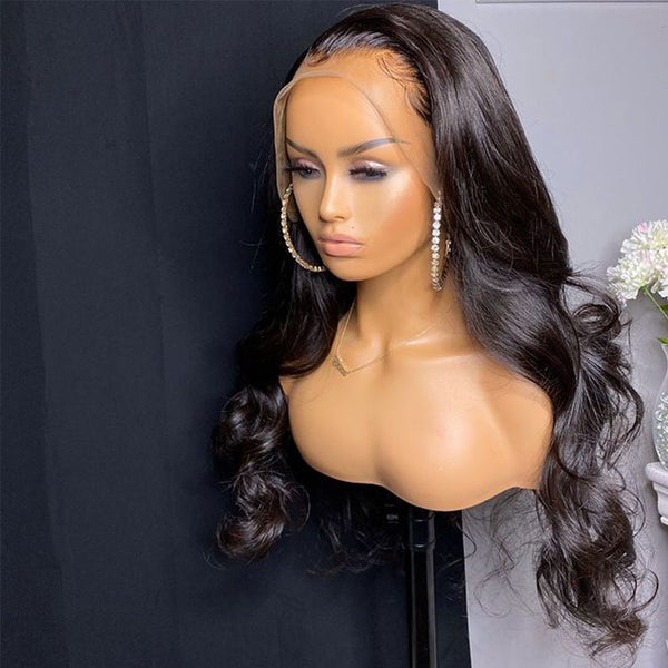 250% High Density 13x6 Lace Frontal Wig Transparent Lace Pre Plucked With Baby Hair