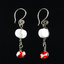 Load image into Gallery viewer, Sterling Silver, White, Red and Black Glass Earrings