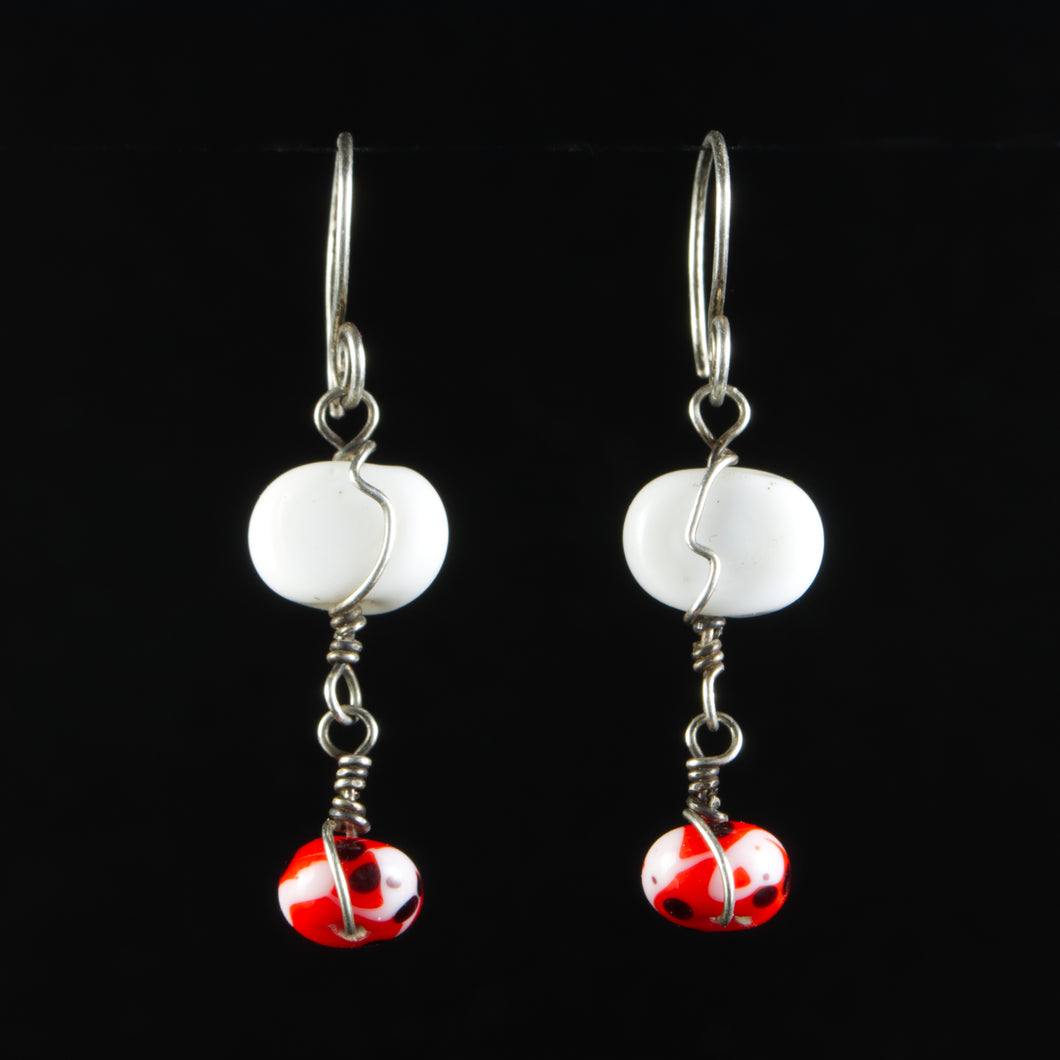 Sterling Silver, White, Red and Black Glass Earrings
