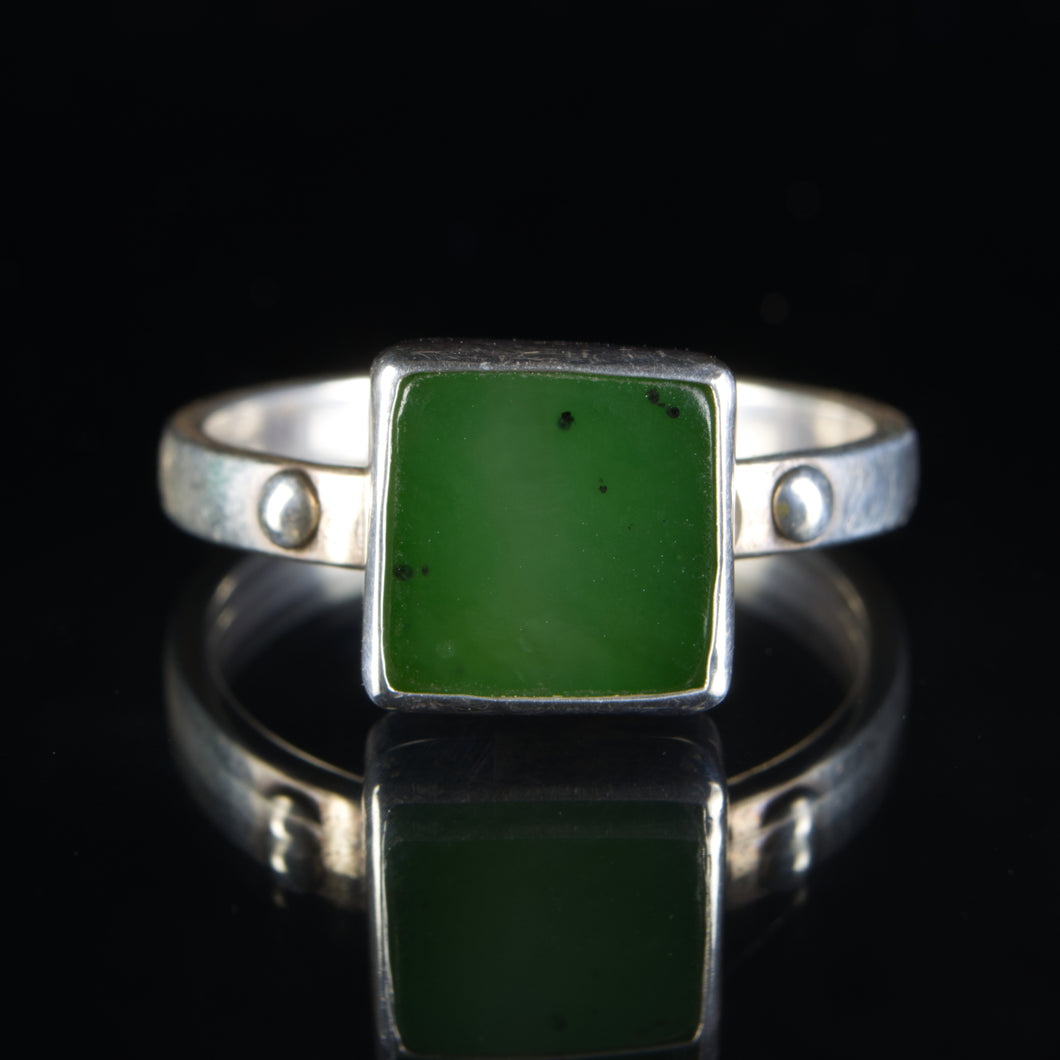Sterling Silver and Nephrite Jade Ring, Size 12.5 US