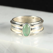 Load image into Gallery viewer, Swaged Sterling Silver and Chrysoprase Ring. Size 8