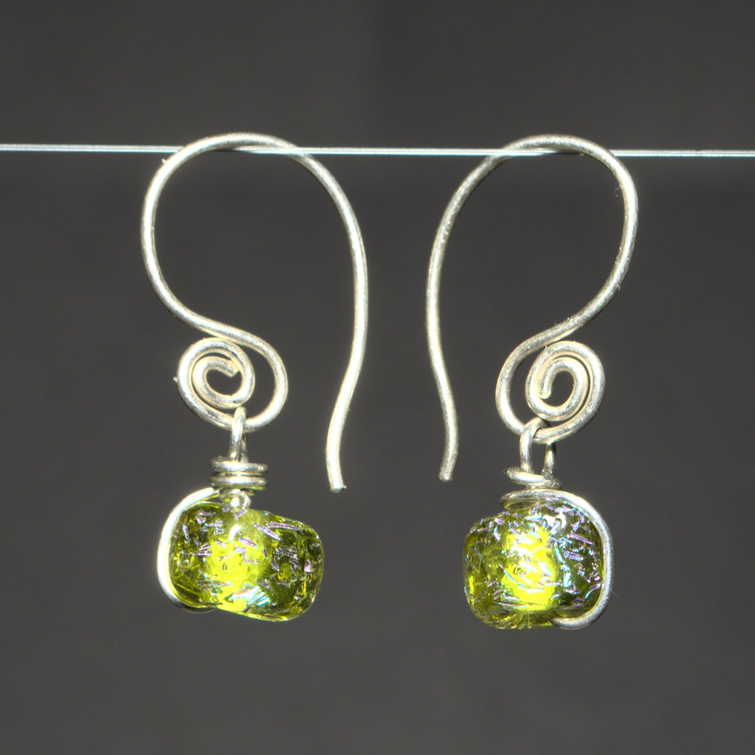 Recycled Peridot and Dichroic Glass Earrings