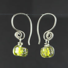 Load image into Gallery viewer, Recycled Peridot and Dichroic Glass Earrings