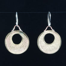 Load image into Gallery viewer, Hoop Earrings: Hand Cut Jeweler's Bronze, hand chased and textured by TL Goodwin