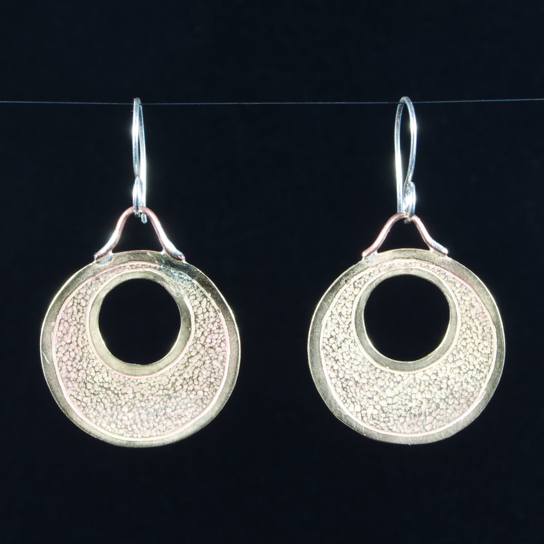 Hoop Earrings: Hand Cut Jeweler's Bronze, hand chased and textured by TL Goodwin