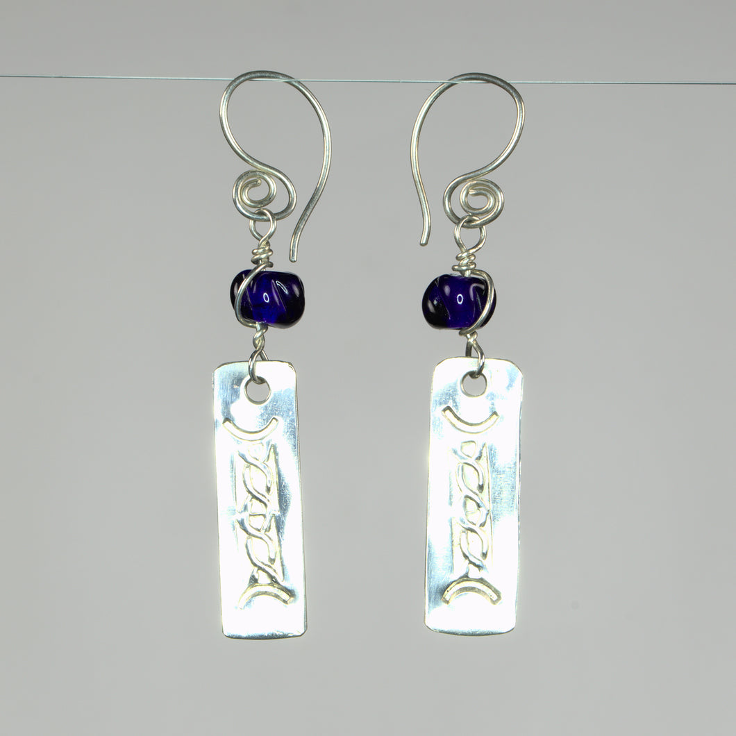 Sterling Silver Celtic Inspired Earrings with Recycled Cobalt Glass Beads