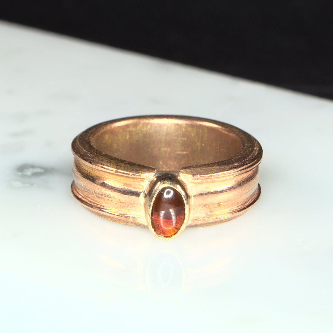 Citrine (Heat Treated Amethyst) and Copper Ring, Size 6