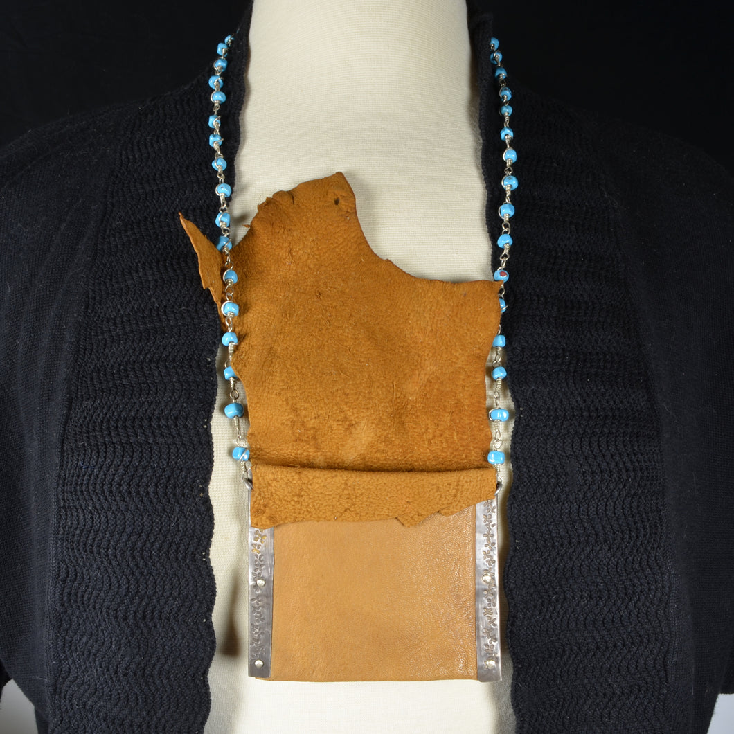 Riveted Leather Bag with Sterling Silver Beaded Strap