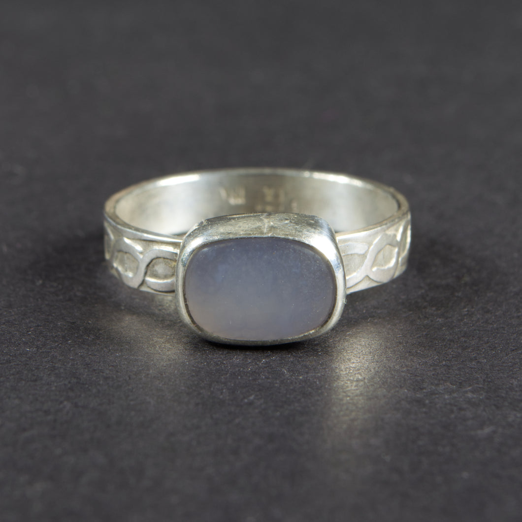 Blue Chalcedony Sterling Silver Ring: Size 8 US