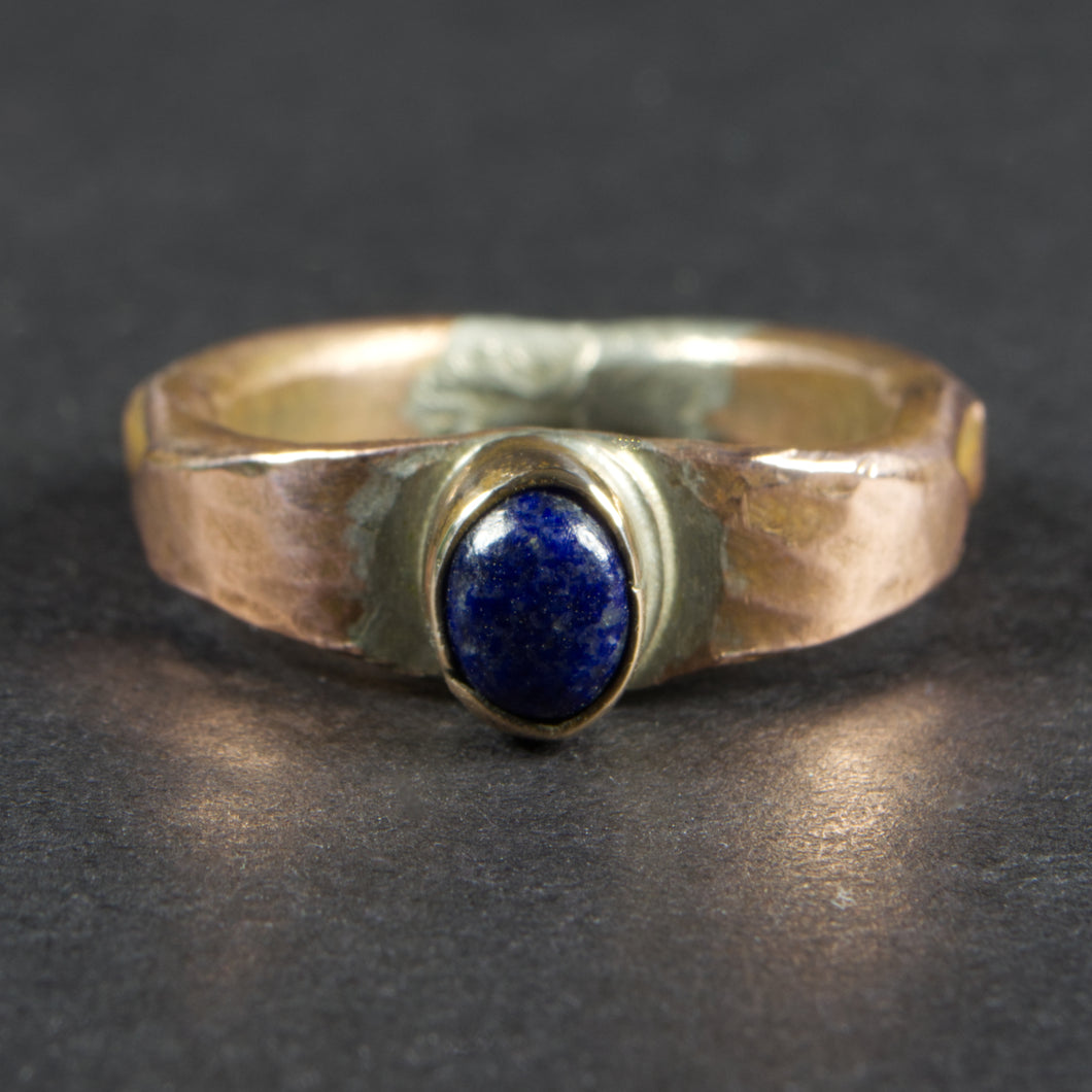 Lapis Lazuli and Copper Forged and Stamped Ring: Size 7 US