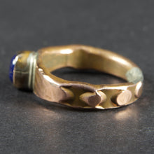 Load image into Gallery viewer, Lapis Lazuli and Copper Forged and Stamped Ring: Size 7 US