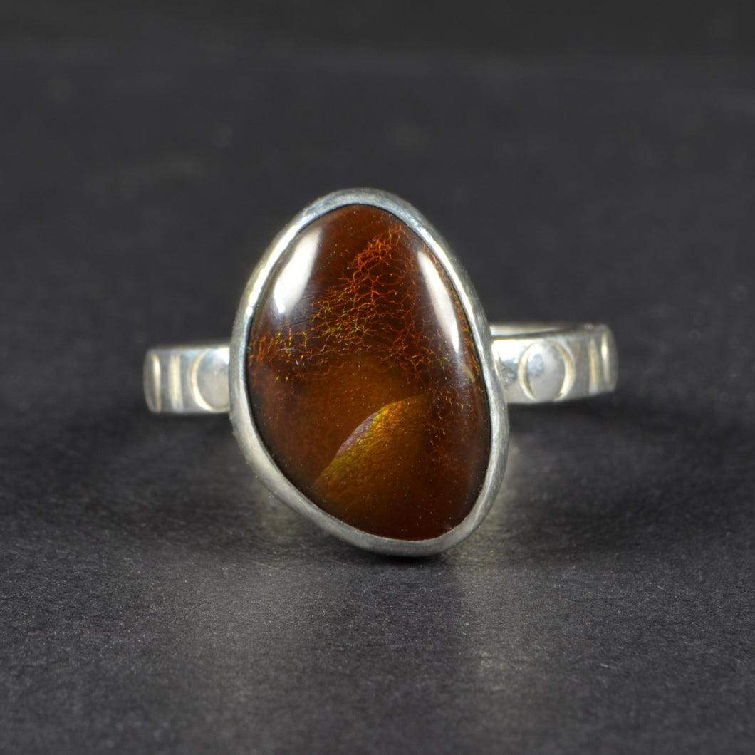 Sterling Silver Fire Agate Ring Size 8.5 US