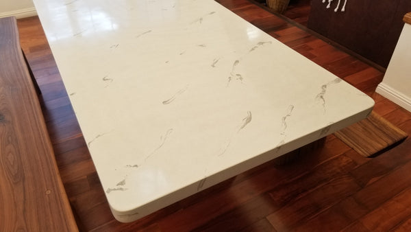 Concrete dining table indoor outdoor White Marble Pattern