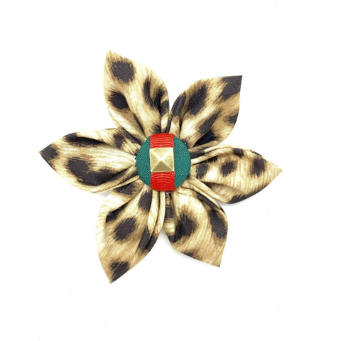 Anubis Leopard Collar Flower - Athena's Boutique