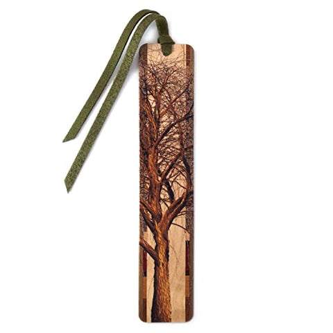Winter Willow Tree in Color Wooden Handmade Bookmark