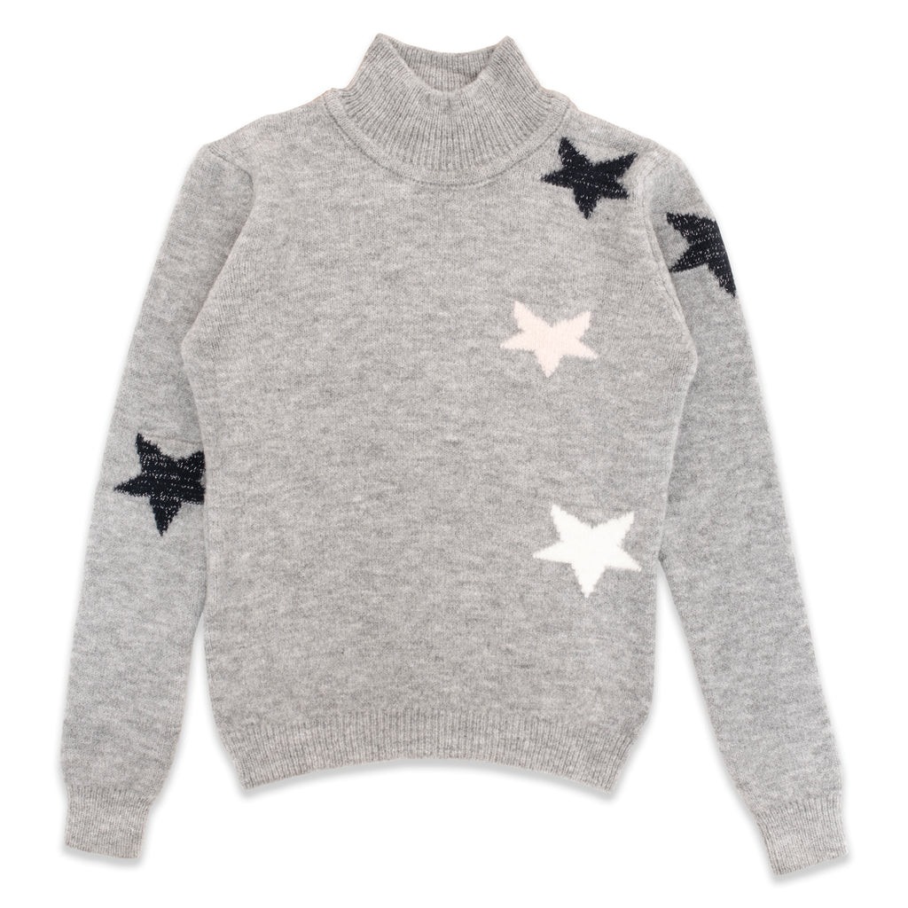 Star Pattern Half Turtleneck Knitted Sweater