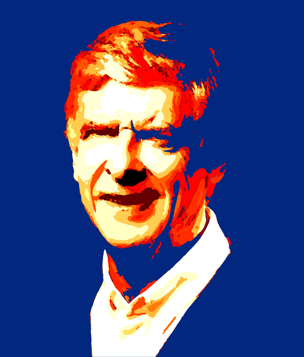 Arsene Wenger in red, white, yellow and blue