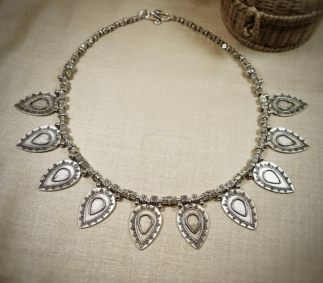 Handcrafted German Silver leaf shape necklace