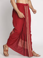 Load image into Gallery viewer, Maroon Pure Cotton geometric pattern Handblock print Dhoti