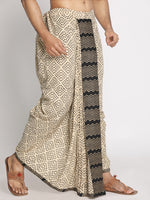Load image into Gallery viewer, Beige & Black printed pure Cotton geomertic pattern Handblock print Dhoti