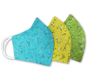 Cotton Slub Hand Block Printed 3 Layer Reusable Mask Pack of 3