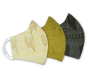 Cotton Linen Hand Block Printed 3 Layer Reusable Mask Pack of 3