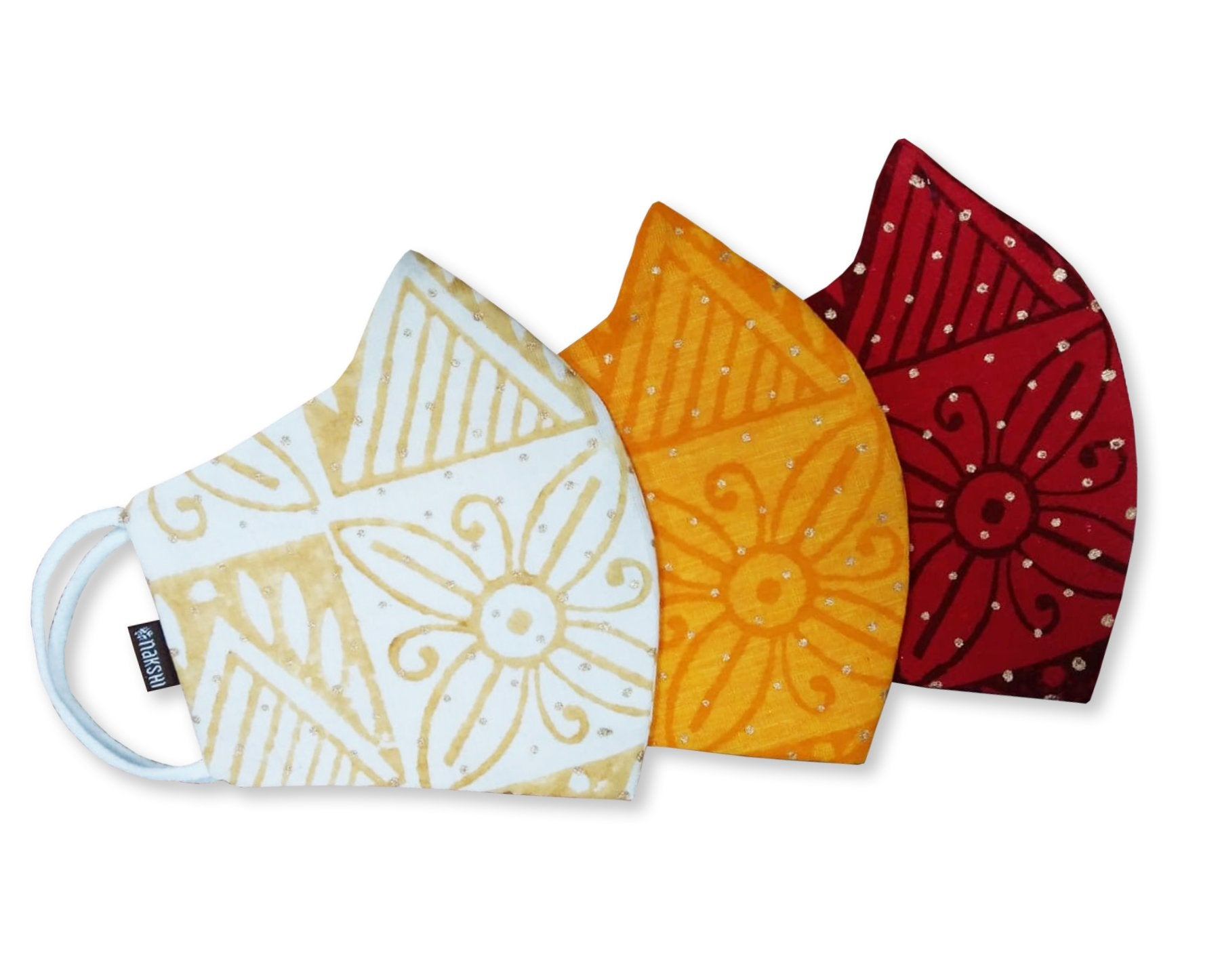 100% Pure Cotton Hand Block Printed 3 Layer Reusable Mask Pack of 3