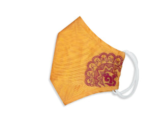 100% Pure Chanderi Embroidered 3 Layer Reusable Mask