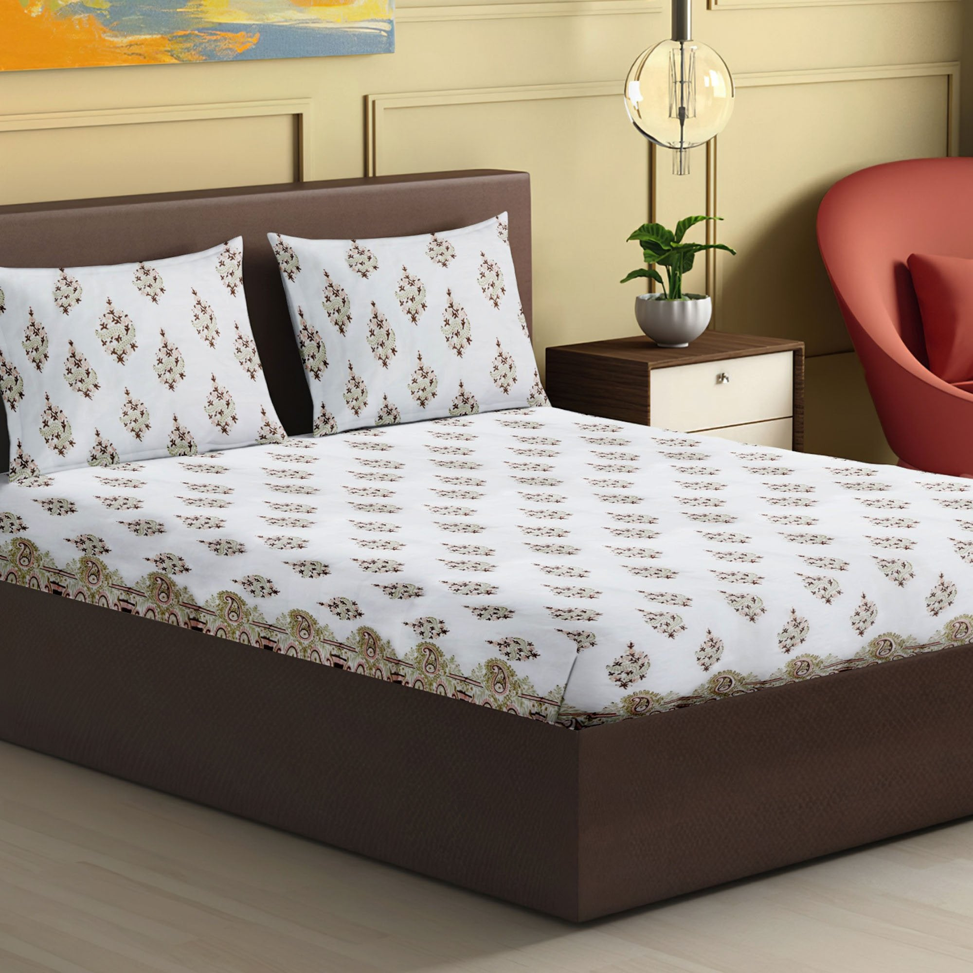 100% Handmade  Paisley  Pattern sanganeri Block Print King Size Bedsheets comes  with 2 Pillow covers