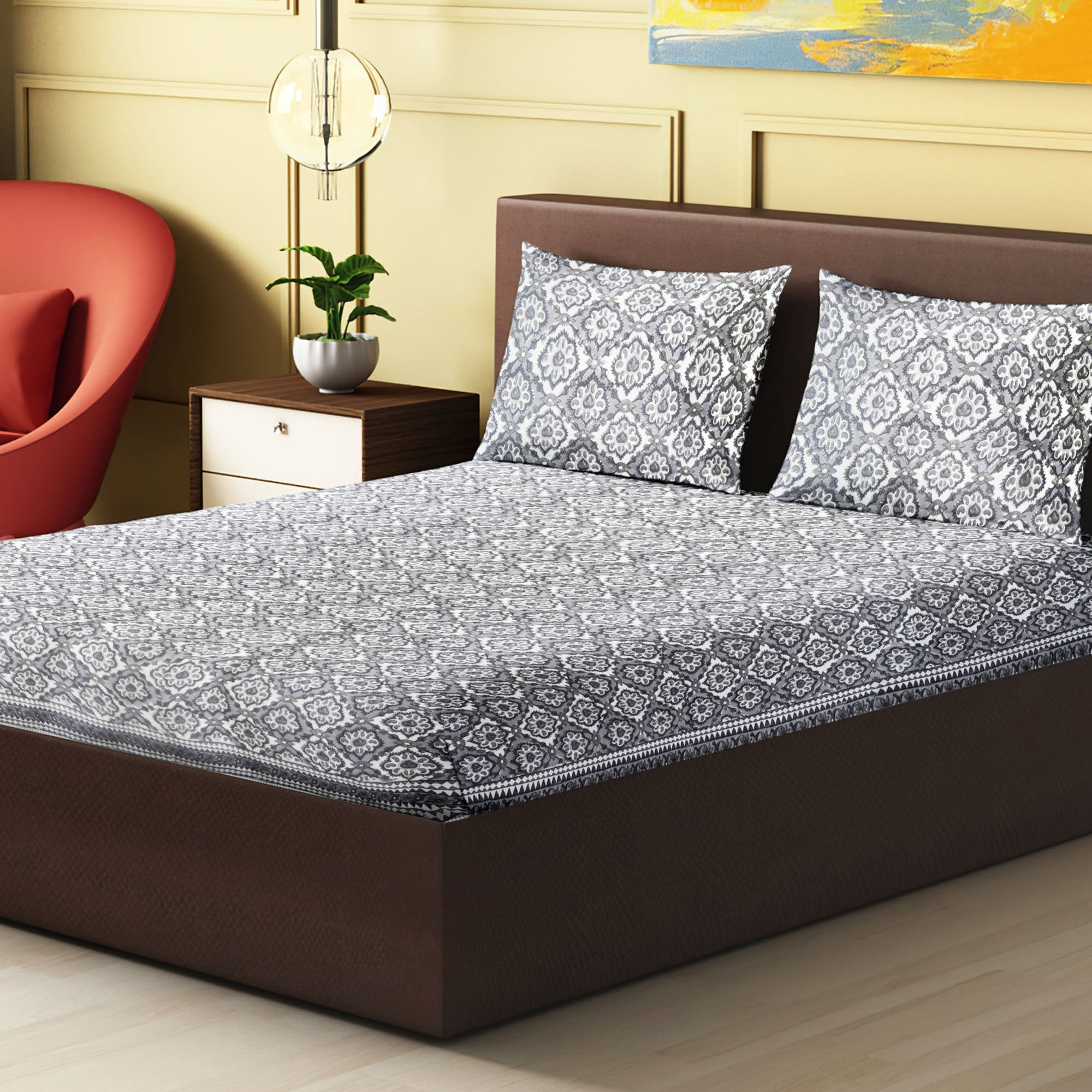 100% Handmade Traditonal sanganeri Block Print King Size Bedsheets comes  with 2 Pillow covers