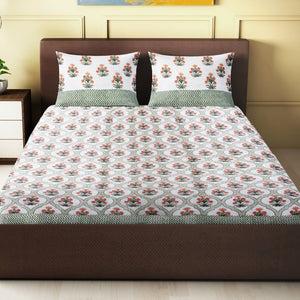 100% Handmade  Ethnic pattern sanganeri Block Print King Size Bedsheets comes  with 2 Pillow covers