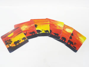 "Nakshi Wooden Hand-Painted 'Life under Forest Dawn' Coaster Set (Pack of 6) 4""x4"""