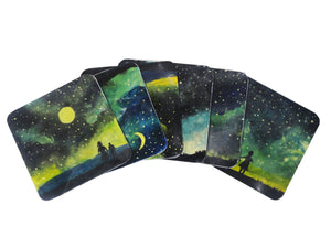 "Nakshi Wooden Hand-Painted 'Twinkle under Twilight' Coaster Set (Pack of 6) 4""x4"""