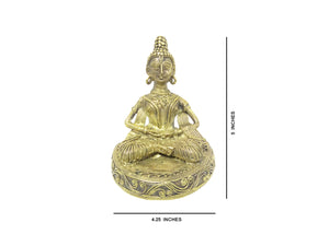 "Dokra showpiece - Sitting Buddha 5""x4.25"""
