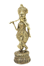 "Load image into Gallery viewer, Dokra showpiece - Lord Krishna playing flute 9.25""x4"""