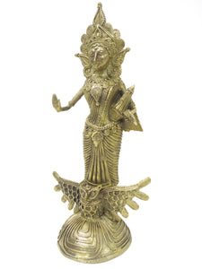 "Dokra showpiece - Goddess Lakshmi 9""x4"""