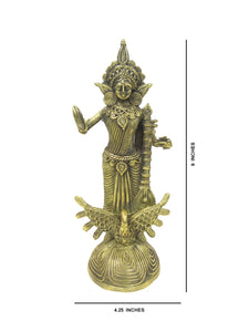 "Dokra showpiece - Goddess Saraswati 9""x4.25"""