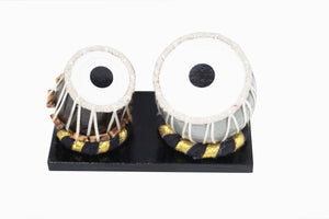 "Nakshi Wooden Dugi Tabla  Set Handcrafted   Miniature Musical Instrument Showpiece 4.5""x3""x2.25"""