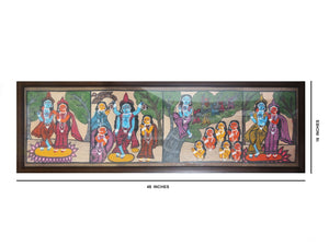 "Kalighat Patachitra Hand Painting Wall Hanging Radha Krishnaleela with Fiber Frame 49""x16"""