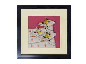 "Pichwai Hand Painting Wall Hanging Cow-N-Calf with Fiber Frame 13.5""x13.5"""