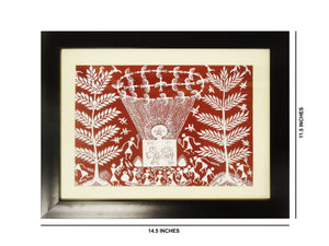 "Warli Hand Painting Wall Hanging Harvest Festival with Fiber Frame 14.5""x11.5"""